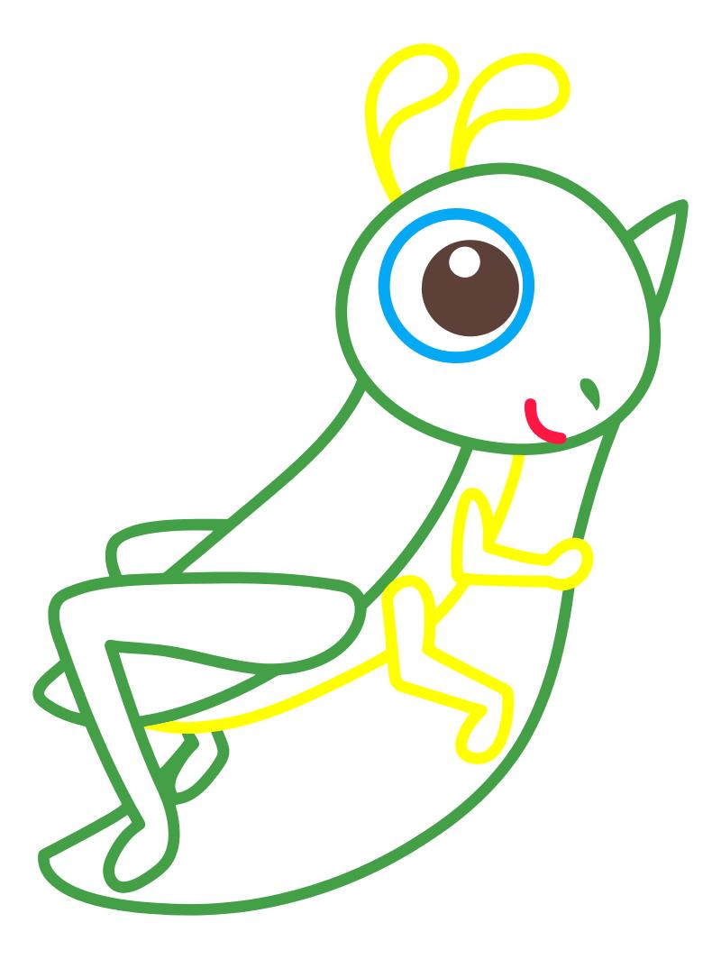 Раскраска - Малышам - Кузнечик