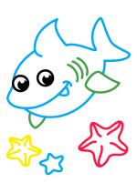 Раскраска - Малышам - Акулёнок