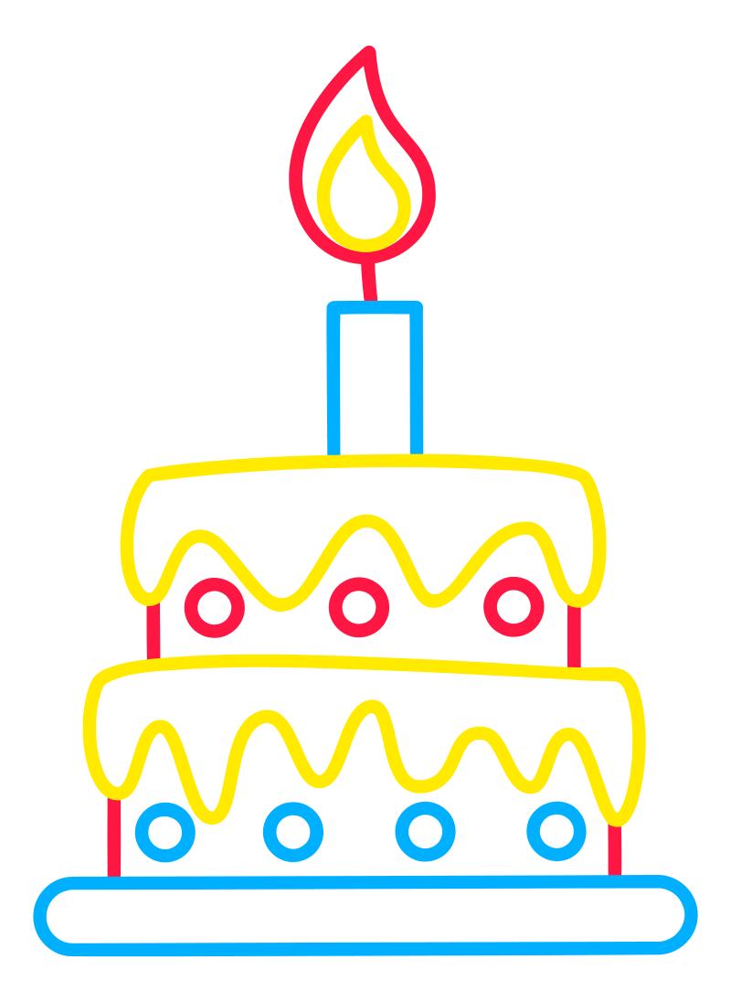 Раскраска - Малышам - Праздничный торт