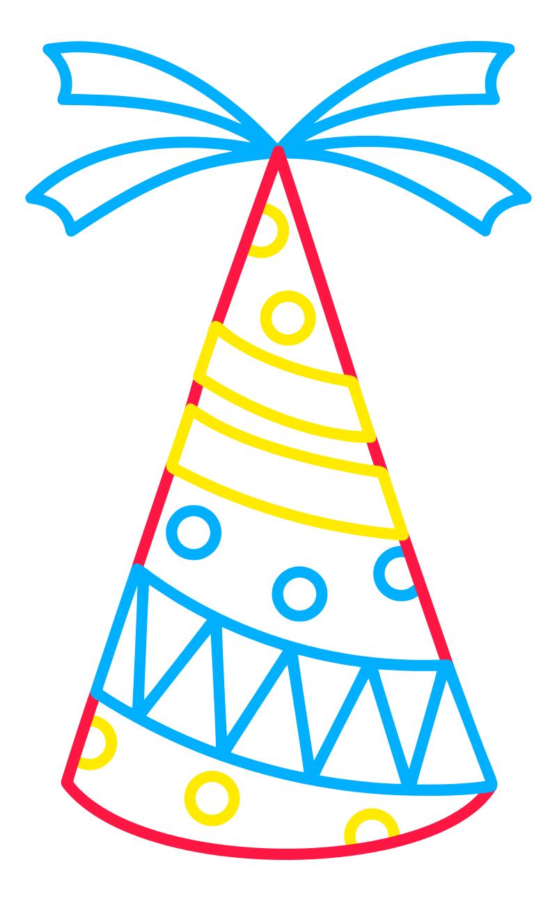 Раскраска - Малышам - Праздничный колпак