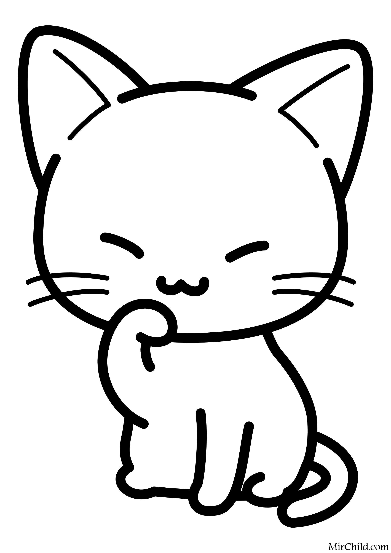 Раскраска - Малышам - Милый котёнок умывается | MirChild