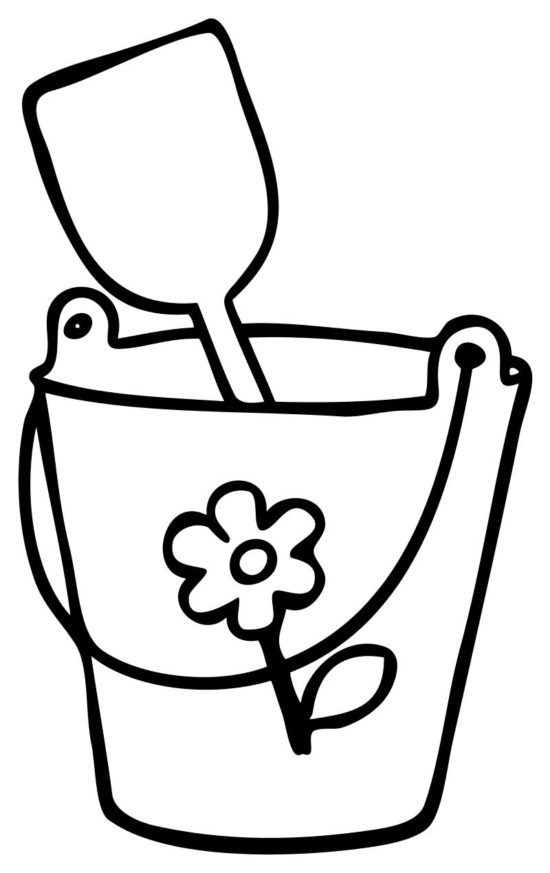 Раскраска - Малышам - Ведёрко с лопаткой | MirChild