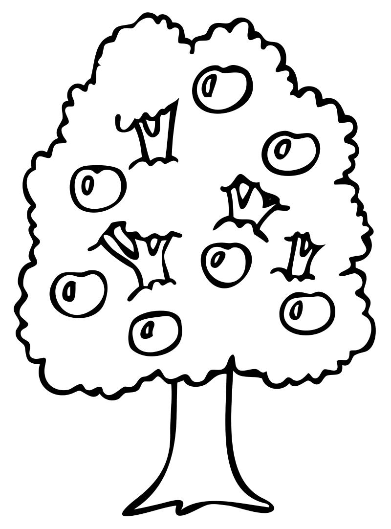 Раскраска - Малышам - Яблоня | MirChild
