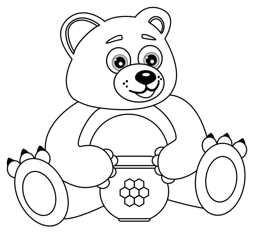 Раскраска Мишка с горшочком мёда