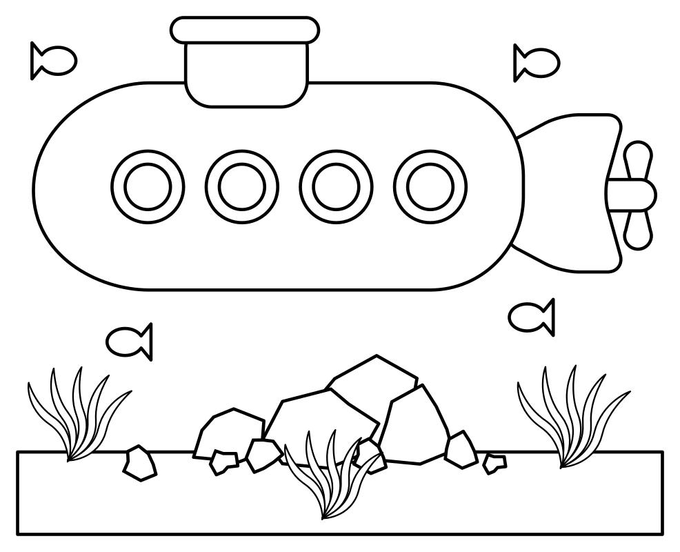 Раскраска Подводная лодка
