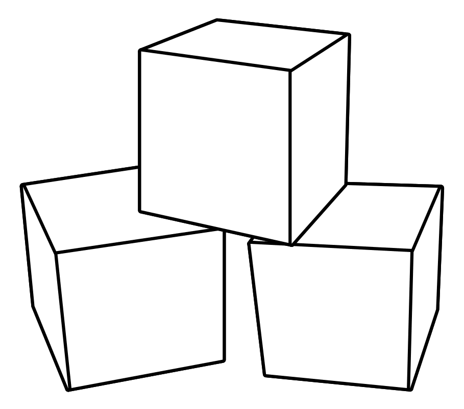 Раскраска Три кубика