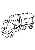 Раскраска Игрушка паровозик с вагоном