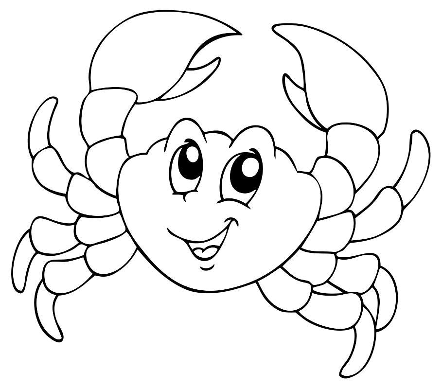 Раскраска Весёлый крабик