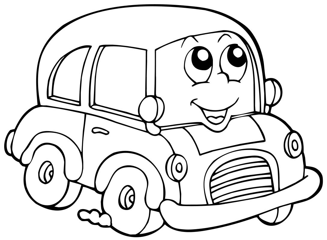 Раскраска - Малышам - Весёлый автомобильчик