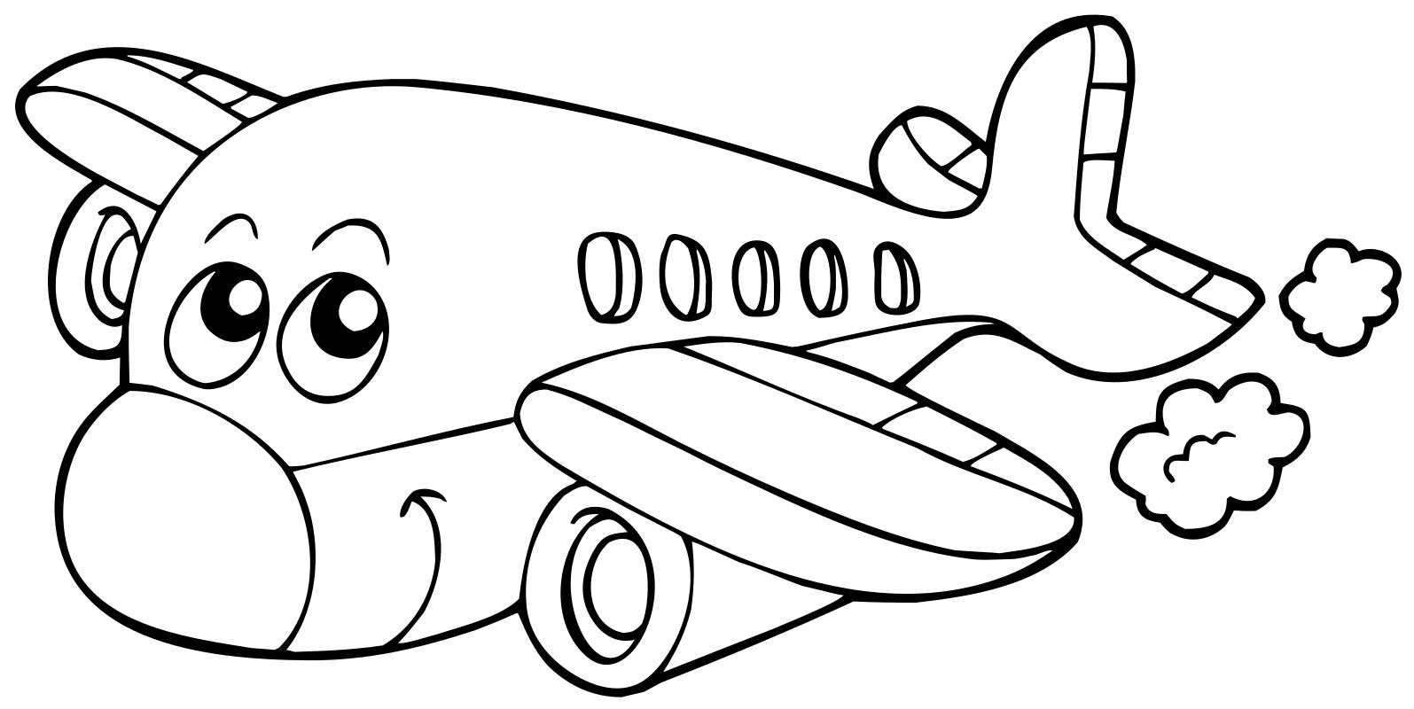 Раскраска - Малышам - Улыбающийся самолёт