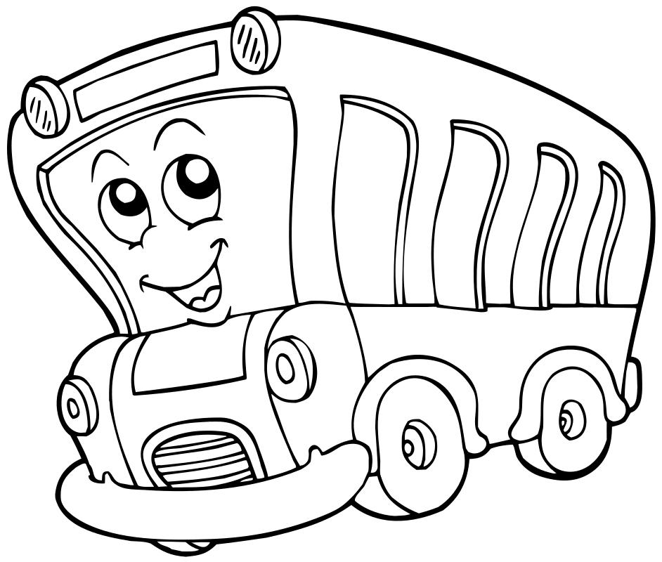 Раскраска - Малышам - Весёлый автобус