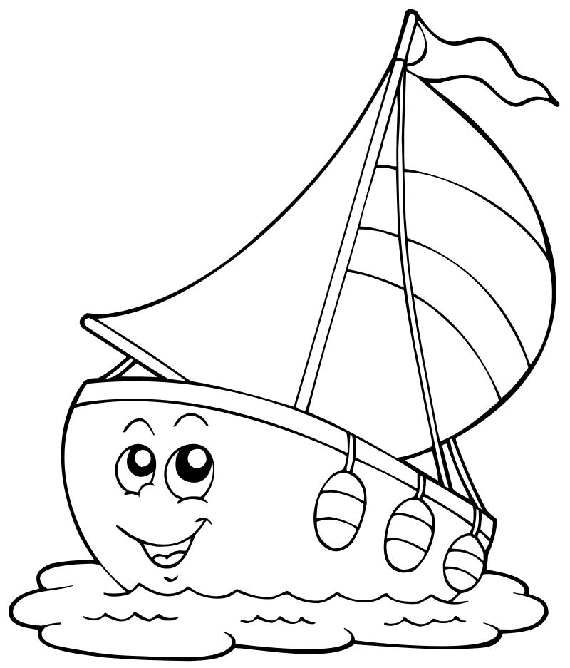 Раскраска - Малышам - Радостный парусник