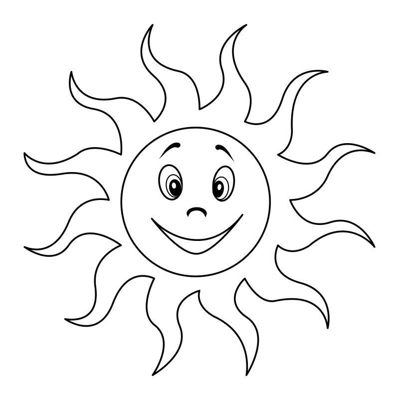 Раскраска - Малышам - Улыбающееся солнце