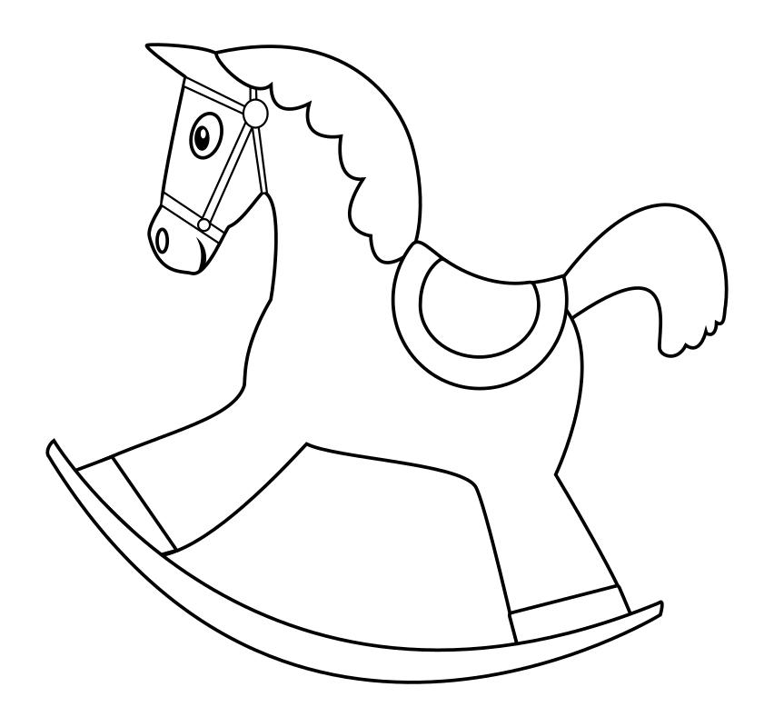 Раскраска - Малышам - Лошадка качалка