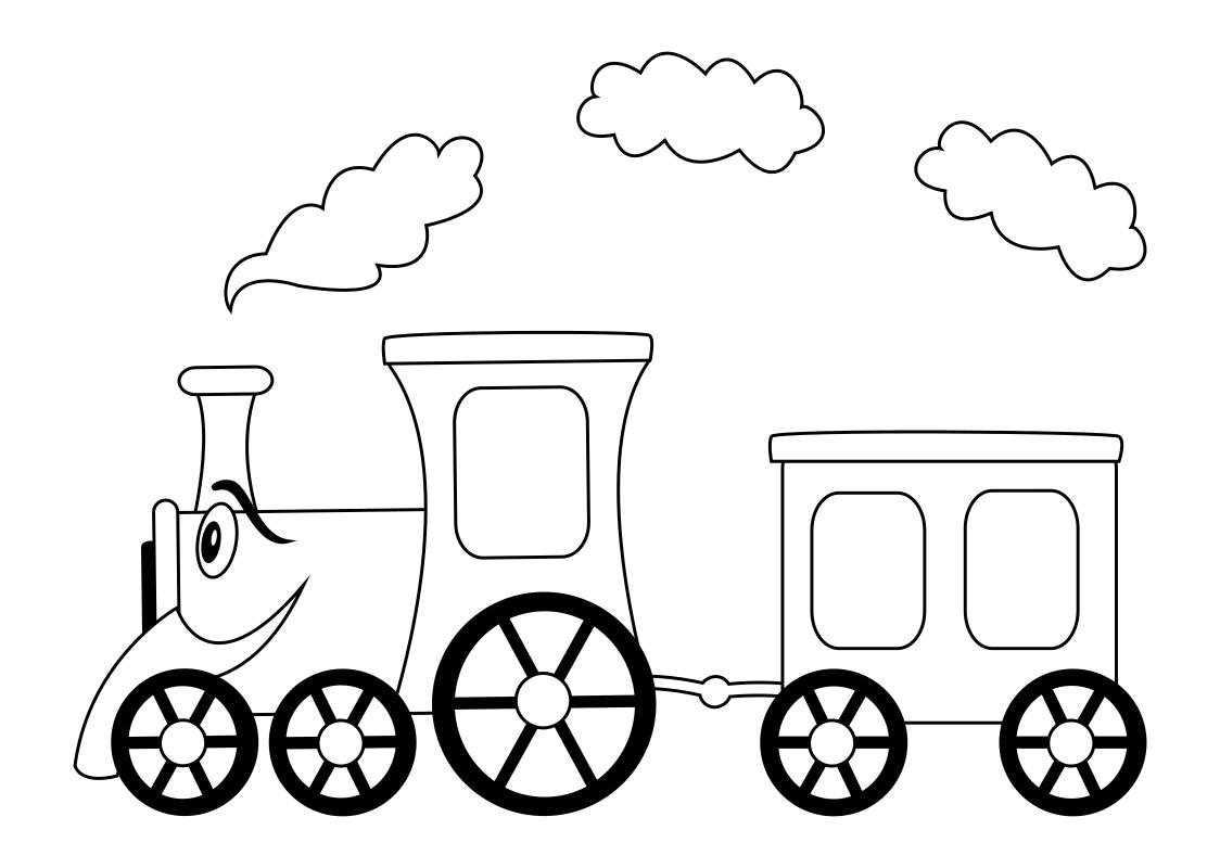 Раскраска - Малышам - Паровозик с вагоном