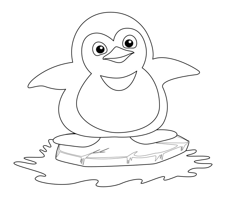 Раскраска - Малышам - Пингвинёнок на льдине