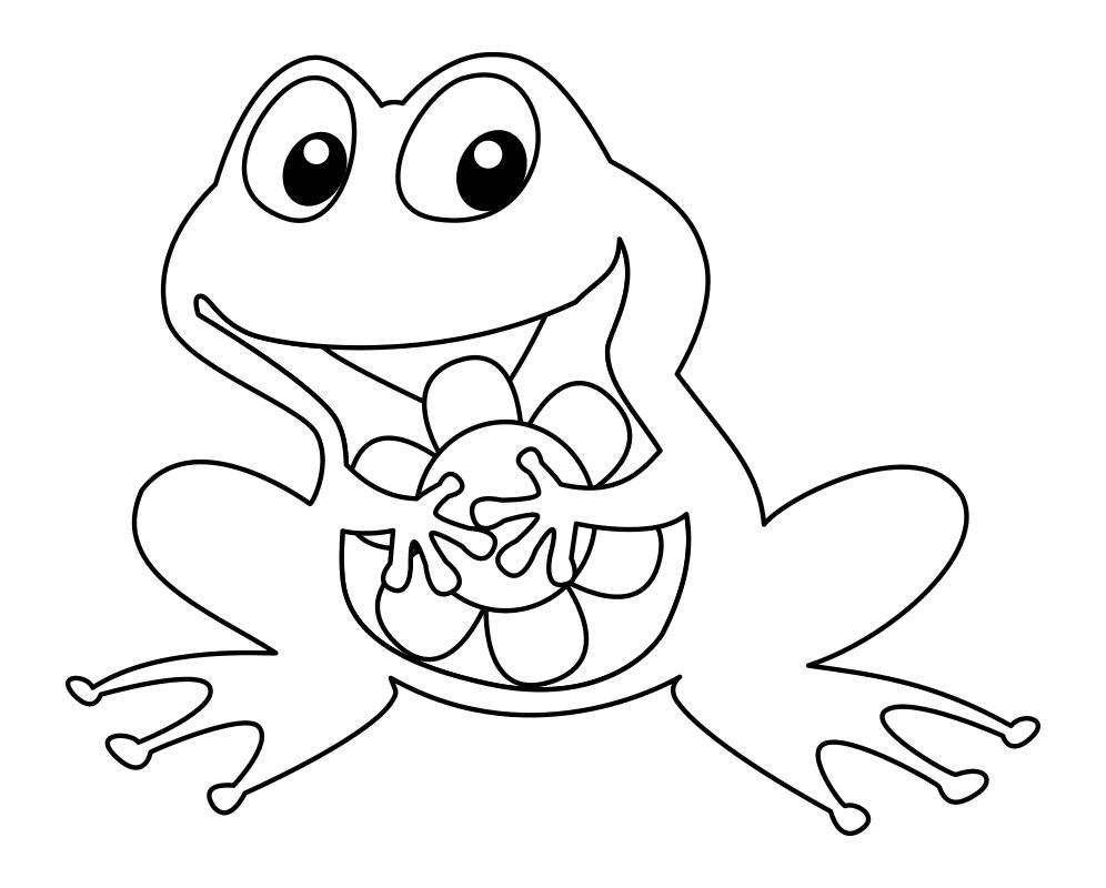 Раскраска - Малышам - Лягушонок с цветком
