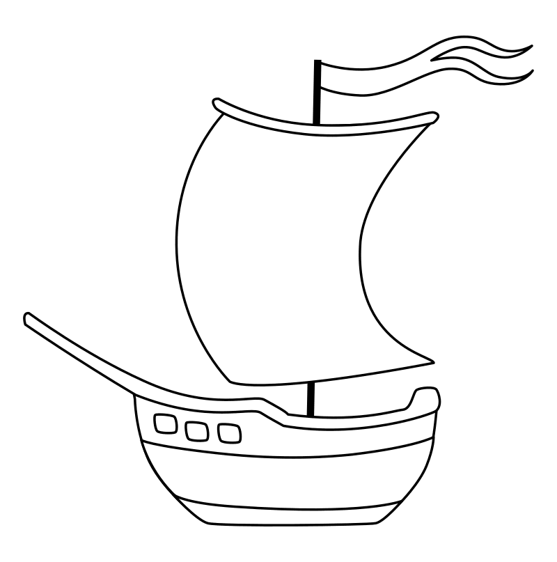 Раскраска - Малышам - Парусный кораблик с флагом
