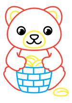 Раскраска - Малышам - Мишка с корзинкой