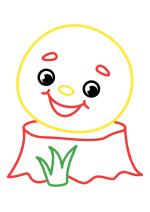 Раскраска - Малышам - Колобок на пеньке