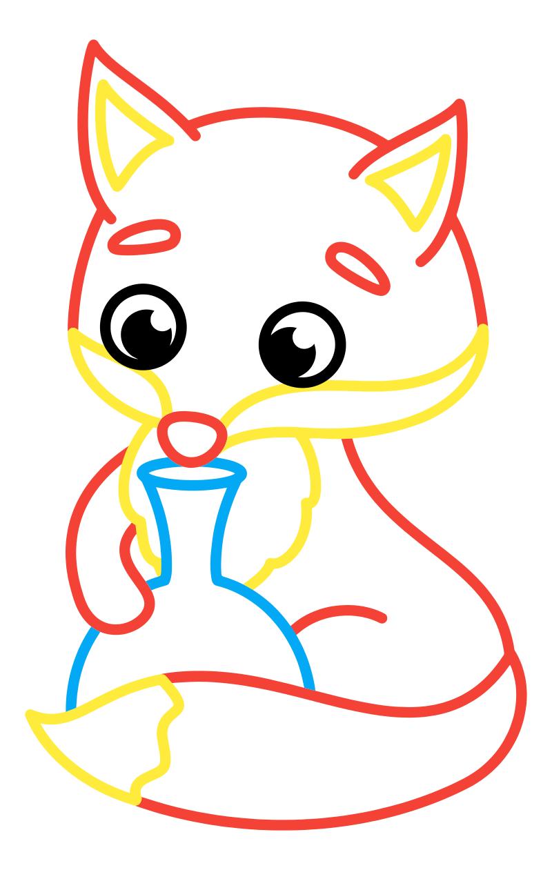 Раскраска - Малышам - Лисичка с кувшинчиком