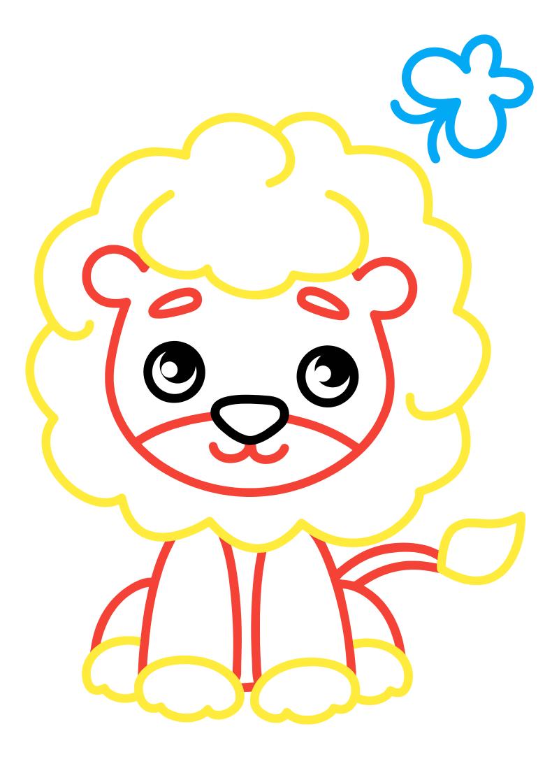 Раскраска - Малышам - Львёнок с бабочкой | MirChild