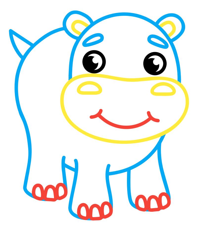 Раскраска - Малышам - Бегемотик