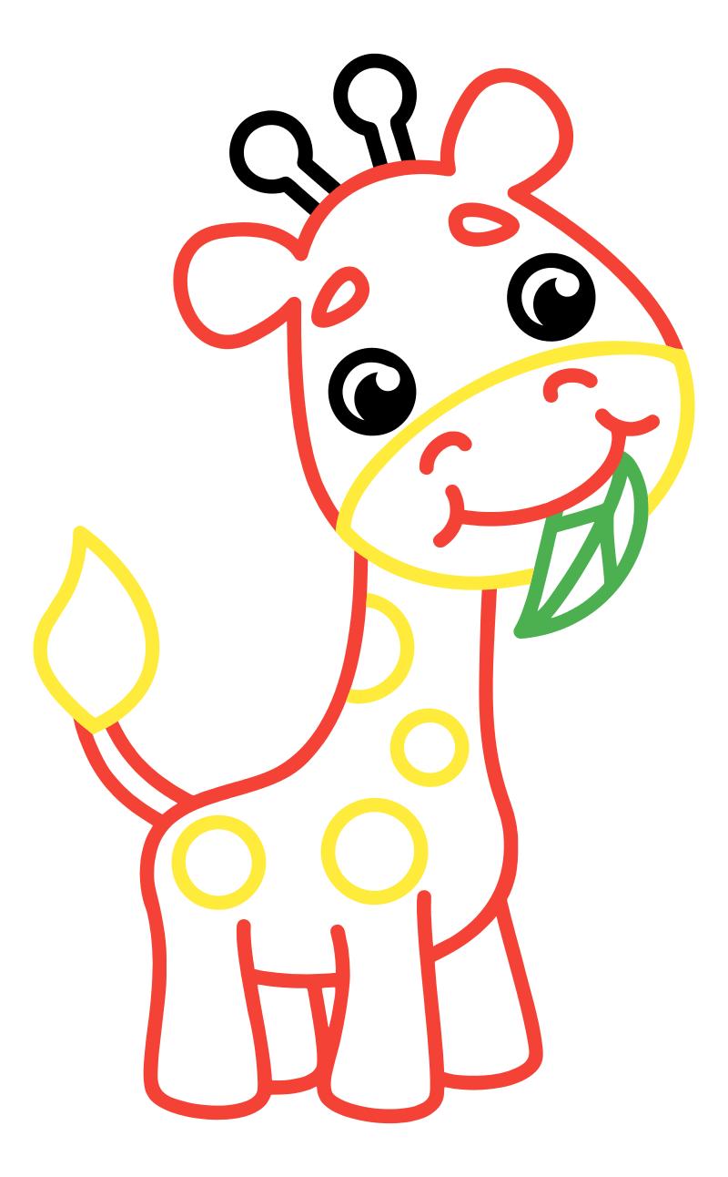 Раскраска - Малышам - Жирафёнок