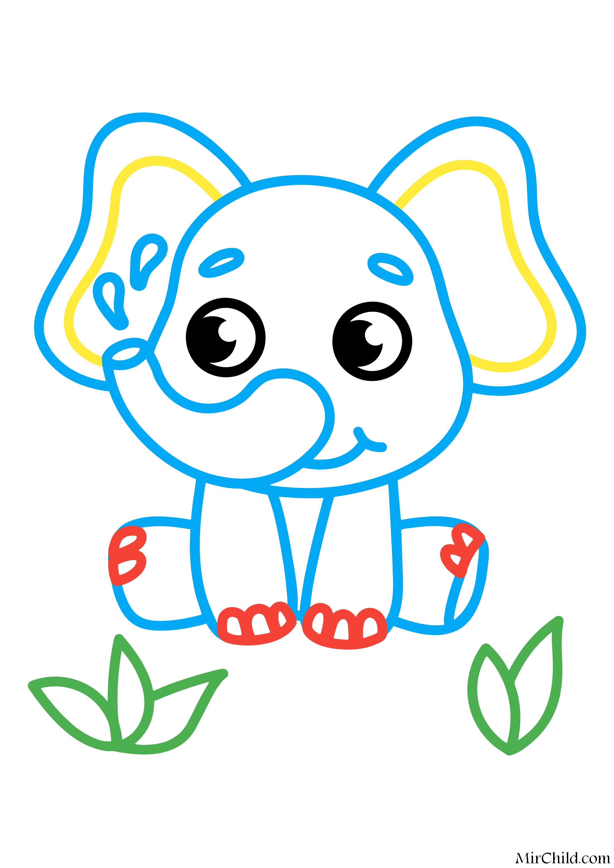 Раскраска - Малышам - Слоник | MirChild
