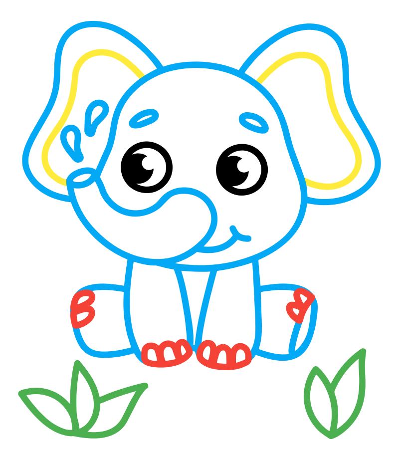 Раскраска - Малышам - Слоник