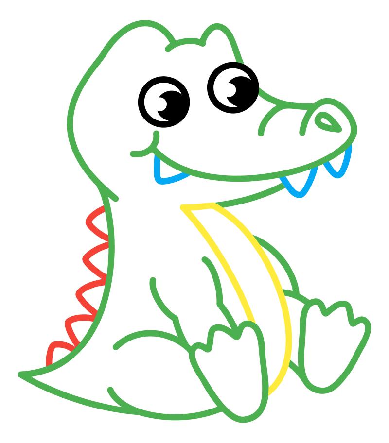 Раскраска - Малышам - Крокодильчик | MirChild