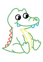 Раскраска - Малышам - Крокодильчик