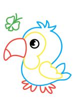 Раскраска - Малышам - Попугайчик с бабочкой
