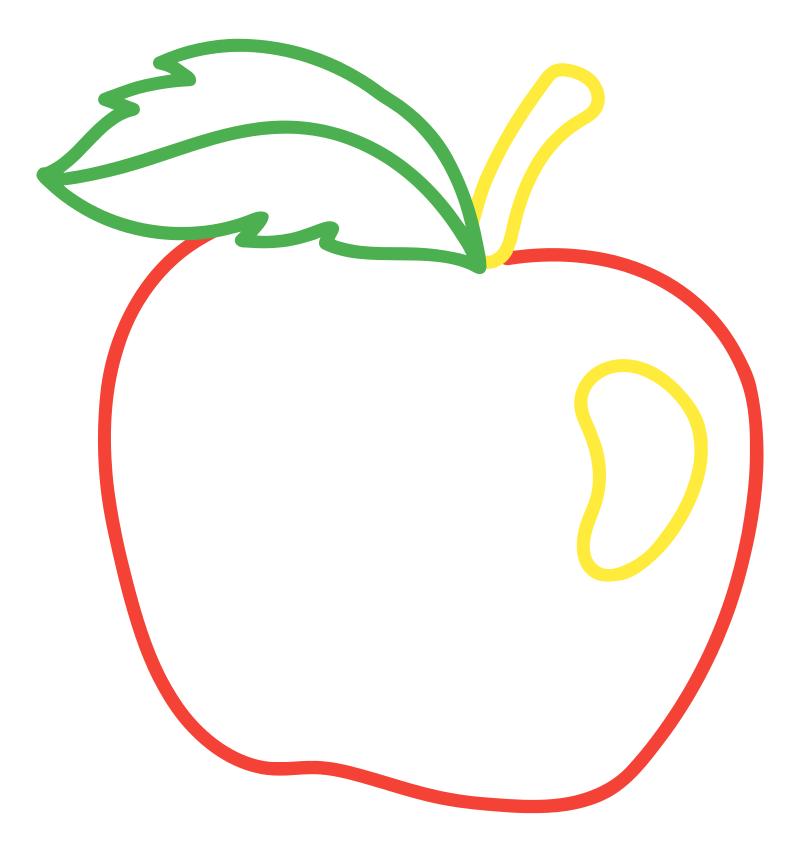 Раскраска - Малышам - Спелое яблоко