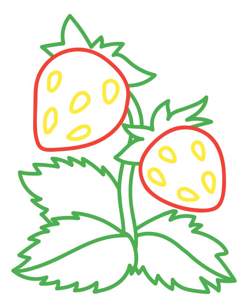 Раскраска - Малышам - Спелая клубника