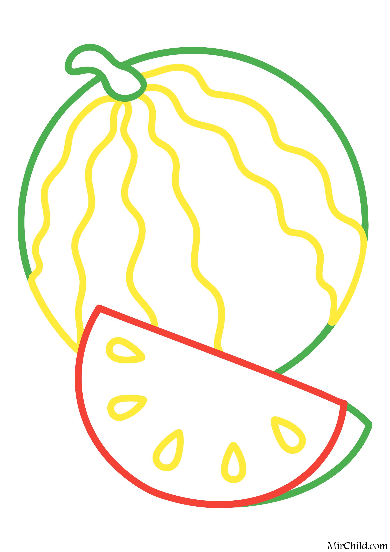 Раскраска - Малышам - Арбуз | MirChild
