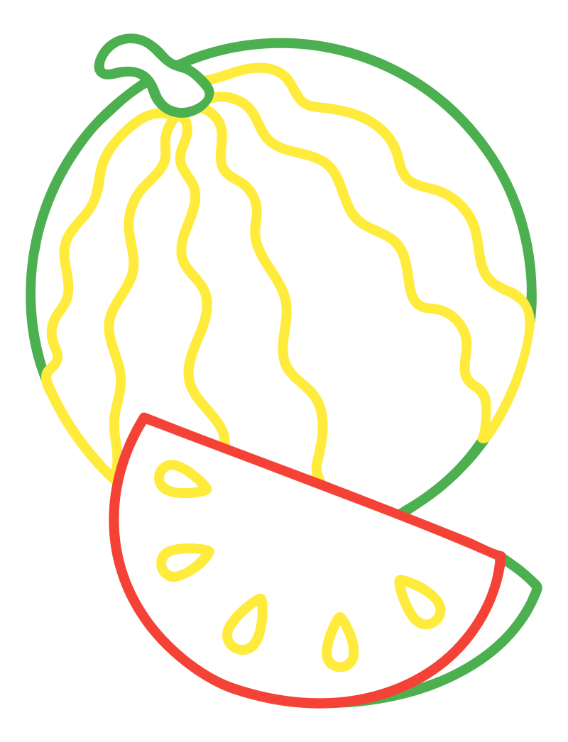 Раскраска - Малышам - Арбуз