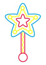 Раскраска - Малышам - Волшебная палочка - звезда