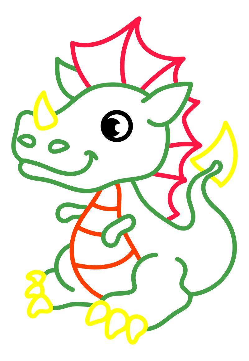 Раскраска - Малышам - Маленький дракончик | MirChild