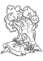 Раскраска - Алиса в Стране чудес - Алиса спит под деревом