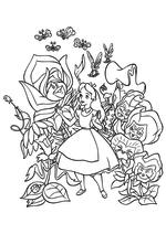 Раскраска - Алиса в Стране чудес - Алиса среди цветов