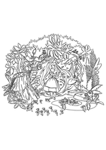 Раскраска - Алиса в Стране чудес - Алиса в странном лесу
