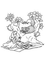 Раскраска - Алиса в Стране чудес - Алиса и Чеширский Кот