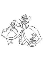 Раскраска - Алиса в Стране чудес - Алиса, Червонная Королева и Король