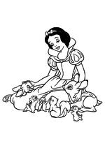 Раскраска Белоснежка и лесные зверюшки