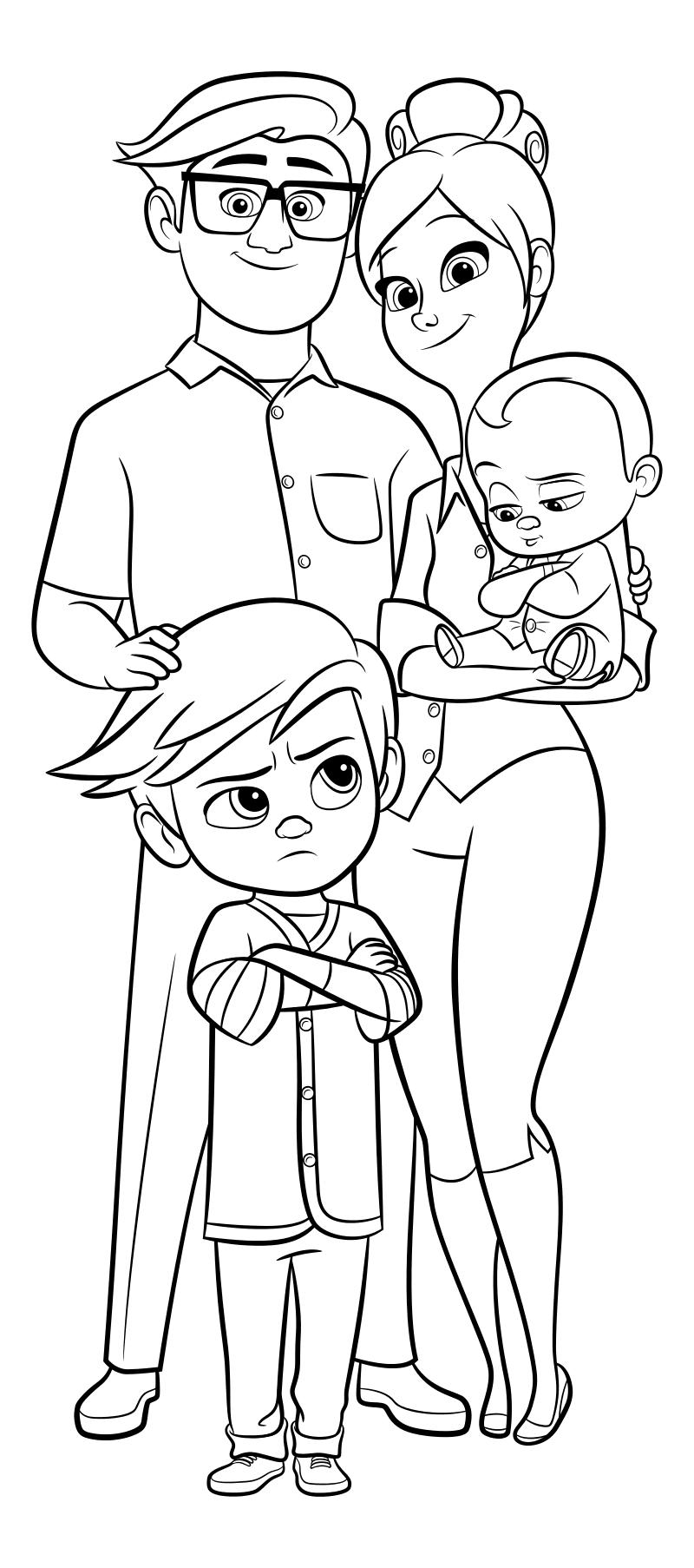 Мама папа и малыш раскраска