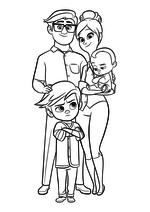 Раскраска - Босс - молокосос - Папа, Мама, Тим и Малыш