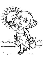 Раскраска - Даша-путешественница - Даша на пляже с ведёрком