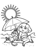 Раскраска - Даша-путешественница - Даша с Башмачком под зонтом