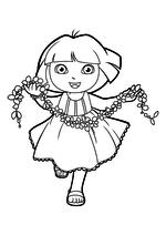Раскраска - Даша-путешественница - Даша бежит с цветами